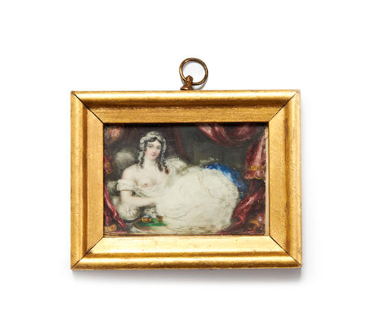 English School, Early 19th Century A portrait miniature of a Lady, reclining beneath the canopy of her bed, wearing white chemise falling from her shoulders revealing her right breast, her raven hair curled in loose tresses beneath her white lace cap