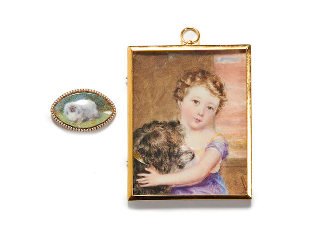 English School, 19th Century A portrait miniature of a Young Boy, wearing purple dress and yellow bodice over white slip, a grey dog with gold collar leaning on his chest, his left arm resting on the dog's back; together with a further miniature portraying a grey pekingese in an outdoors setting (2)