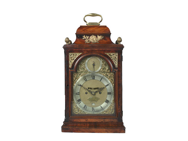 A mid 18th century mahogany twin fusee bracket clock, with verge escapement Jasper Smith. London