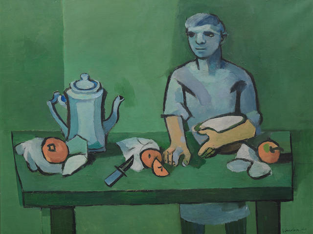 Keith Vaughan (British, 1912-1977) Green Kitchen Group 63.9 x 84.2 cm. (25 1/8 x 33 1/8 in.)