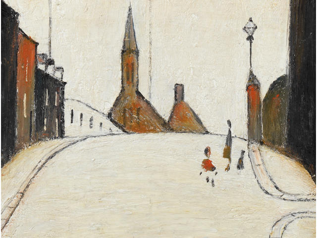 Laurence Stephen Lowry R.A. (British, 1887-1976) A Street in Clitheroe 35.6 x 25.4 cm. (14 x 10 in.)