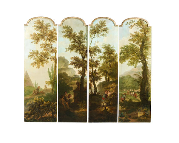 19th Century Italian School, a four panel screen