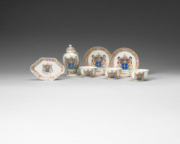 A selection of armorial tea wares for the Belgian Market Qianlong, circa 1740-1750