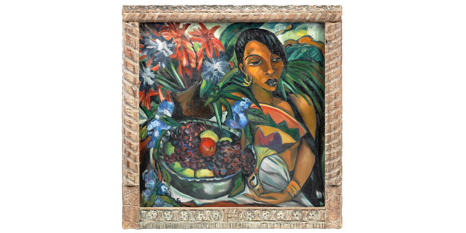 Irma Stern (South African, 1894-1966) 'Still life with African Woman' within original Zanzibar frame