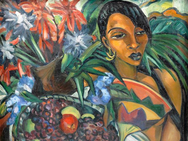 Irma Stern (South African, 1894-1966) 'Still life with African Woman' within original Zanzibar frame