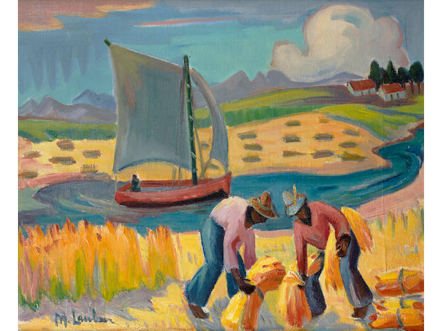 Maggie (Maria Magdalena) Laubser (South African, 1886-1973) 'Harvesting at the Cape'