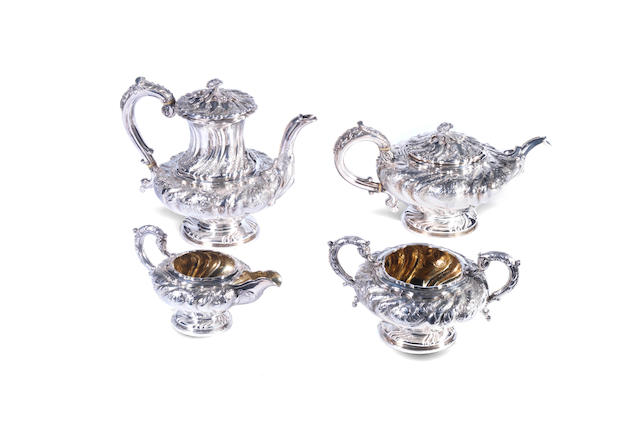 A William IV four-piece silver tea and coffee service by Joseph & John Angell, London 1831-32  (4)