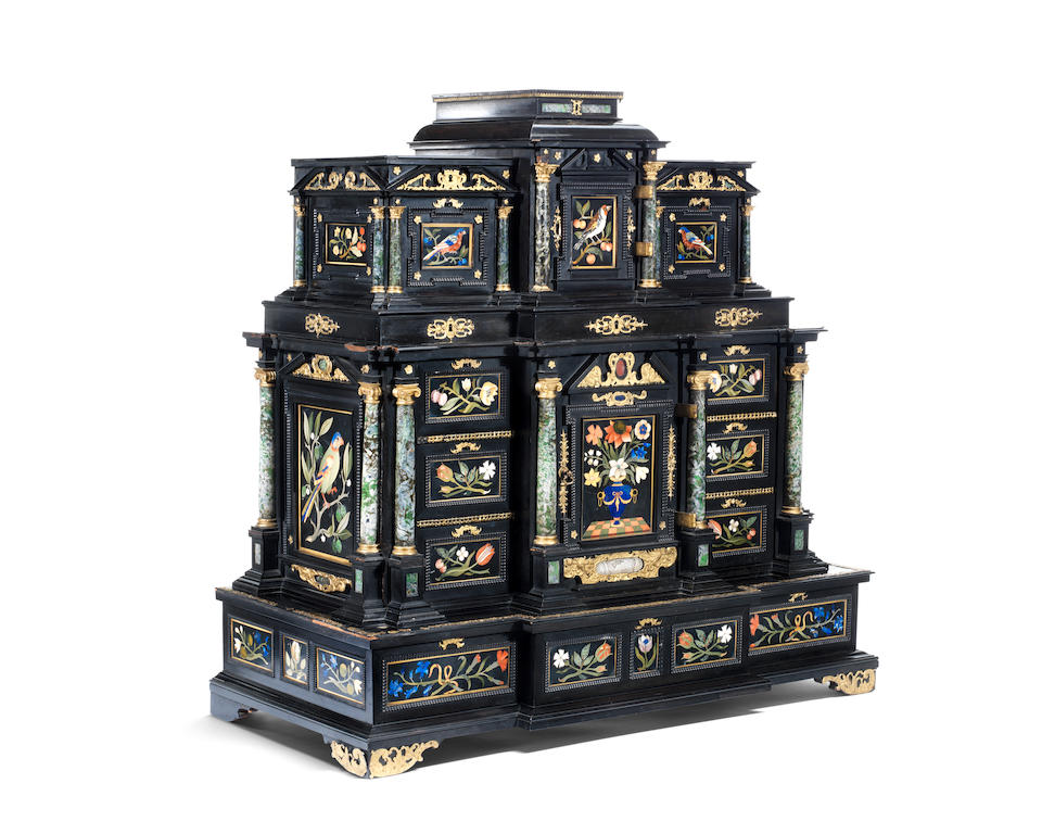 An Exceptional Augsburg 17th century silver-gilt mounted ebony Table Cabinet with Florentine pietre dure plaques from the Grand Ducal workshops by Elias Boscher, circa 1660