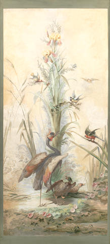 French School, late 19th century Heron in a river landscape; Pheasants in a landscape with flowers and humming birds; A crane, ducks and other birds in a landscape; An ornamental pheasant and other birds in a landscape  (4)