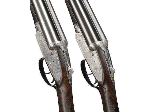 A pair of 12-bore self-opening sidelock ejector guns by J. Purdey, no. 16235/6 In their brass-mounted oak and leather case