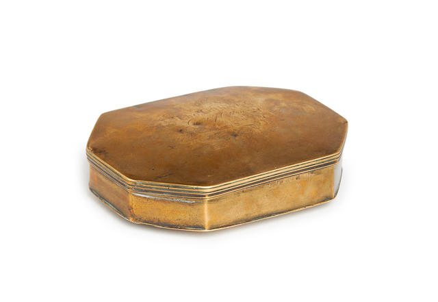 An interesting George II cast and sheet brass tobacco box, dated 1742