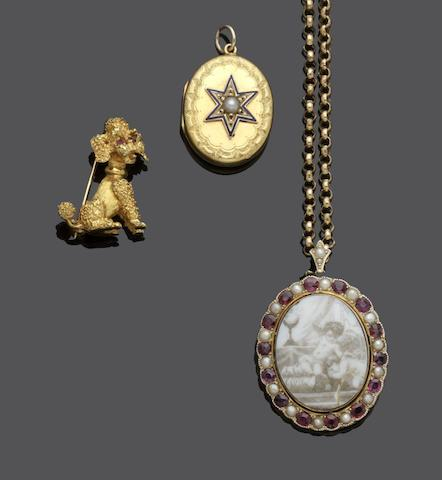 Two locket pendants and a poodle brooch (3)