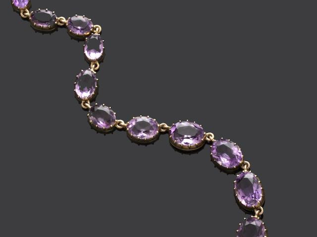 An amethyst rivière necklace and earrings (2)