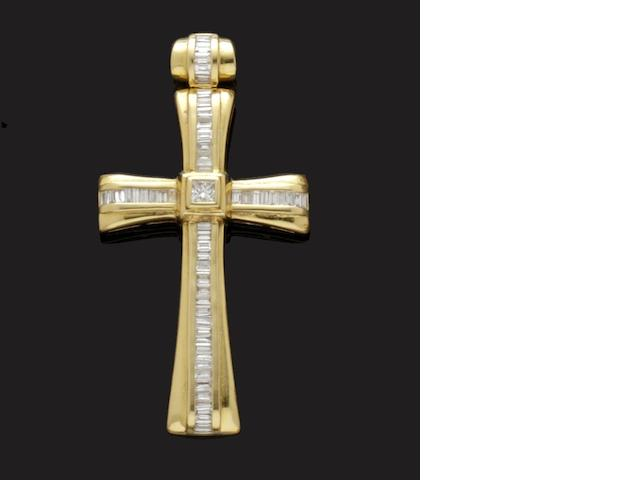 A diamond set cross pendant