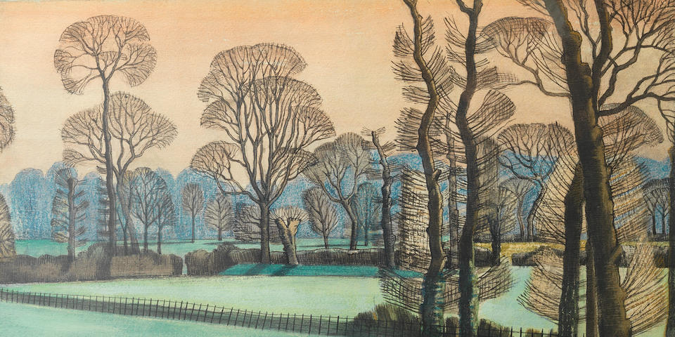 Paul Nash (British, 1889-1946) A Drawing 55.9 x 38.1 cm. (22 x 15 in.) (Executed in 1913)