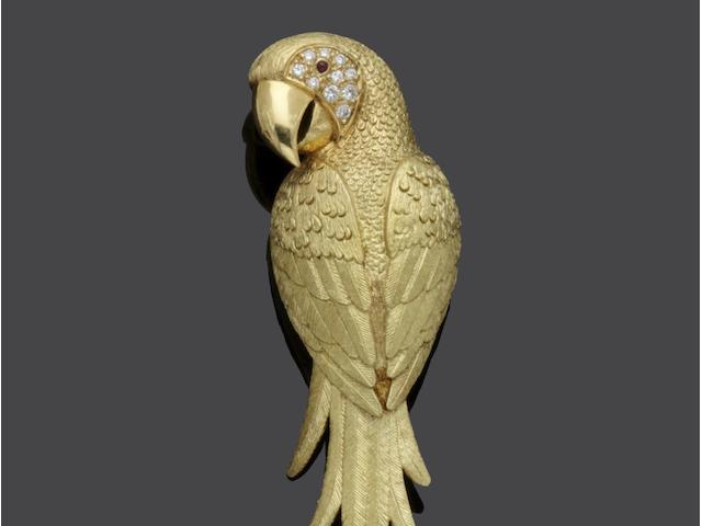 A diamond set parrot brooch