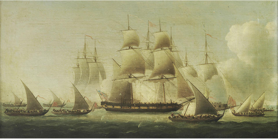 Attributed to Thomas Buttersworth (British, 1768-1828) A pair of naval scenes depicting 'The Fight of The Ranger'.