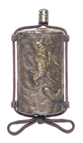 A rare silvered-iron single-case inro or tonkotsu By Umetada Narinobu, late 18th/early 19th century