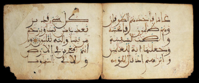 Three Qur'an bifolia written in maghribi script on vellum Spain or Morocco, late 11th/12th Century(3)