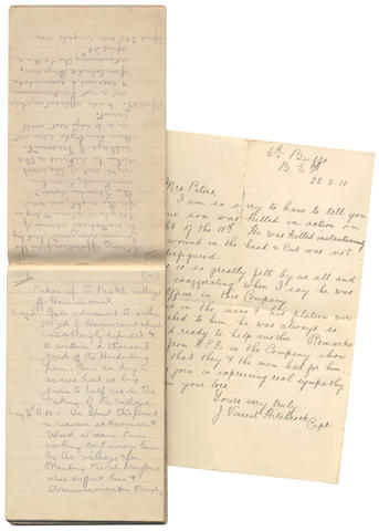 "CHARLES FREDERICK PETERS ""Rough diary of dates & ... experiences during period of entering of army to leaving army"" , [1914-1917]; together with autograph letter signed (""J. Vincent Hitchcock, Capt."", of the 6th Buffs), announcing to Mrs Peters the death ""in action"" on 18 March 1918 of her son, 1 page, 8vo, 22 March 1918 (2)"
