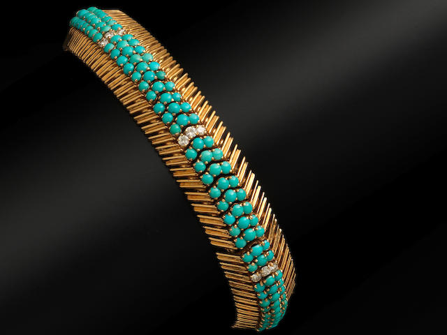 A gold, turquoise and diamond-set bracelet, by Ben Rosenfeld,