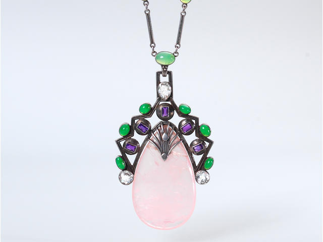 A rose quartz, chrysoprase and topaz pendant necklace, by H. G. Murphy,