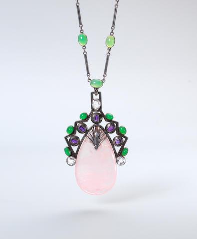 A rose quartz, chrysoprase and topaz pendant necklace, by H. G. Murphy,