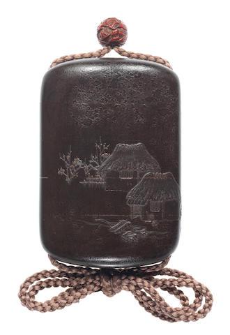 A dark grey lacquer four-case inro By Shibata Zeshin (1807-1891), 19th century