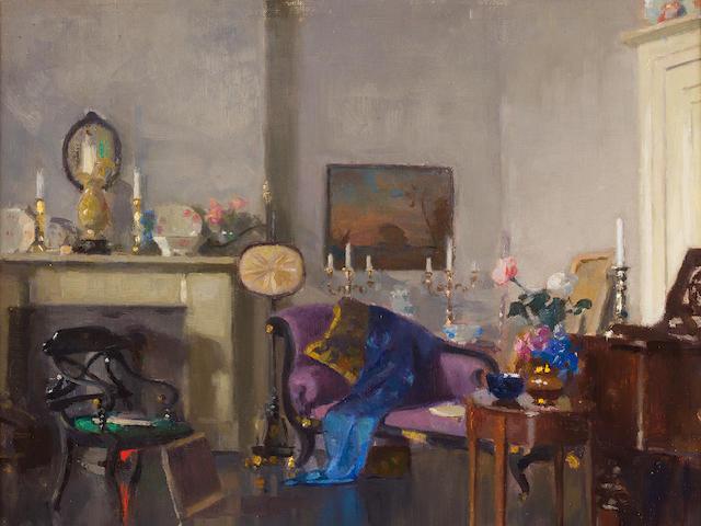 Patrick William Adam RSA (British, 1854-1929) The Studio of FCB Cadell 43 x 47 cm. (16 15/16 x 18 1/2 in.)