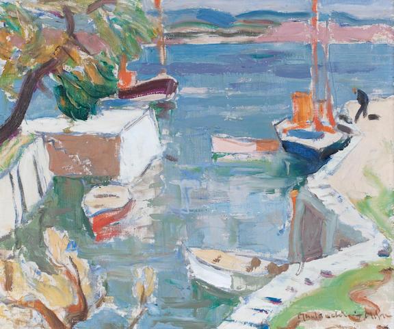 John Maclauchlan Milne RSA (British, 1886-1957) Corrie Harbour 51 x 61 cm. (20 1/16 x 24 in.)