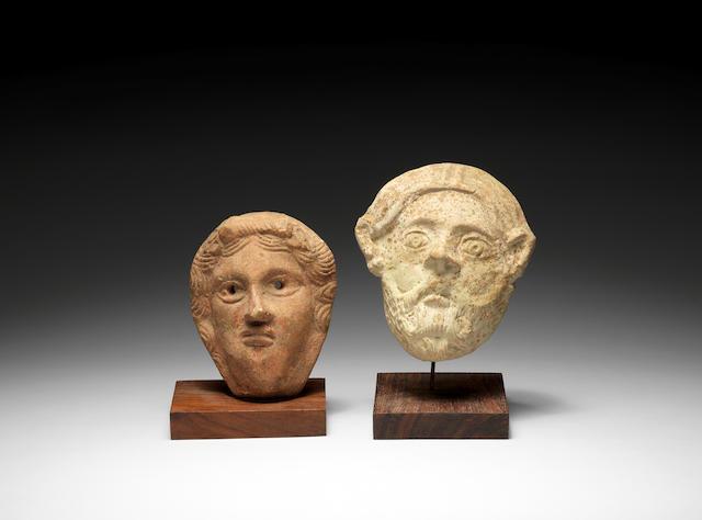Bonhams : two classical terracotta appliqué masks 2