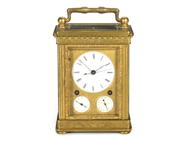A second quarter of the 19th century Swiss petite sonnerie carriage clock with detent escapement Auguste Courvoisier et Cie, Chaux de Fonds