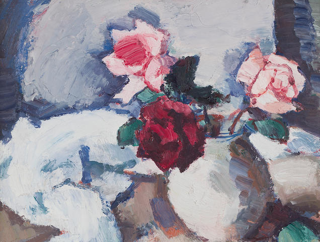 Samuel John Peploe RSA (British, 1871-1935) Dark Roses in Pot 44.5 x 39.5 cm. (17 1/2 x 15 9/16 in.)