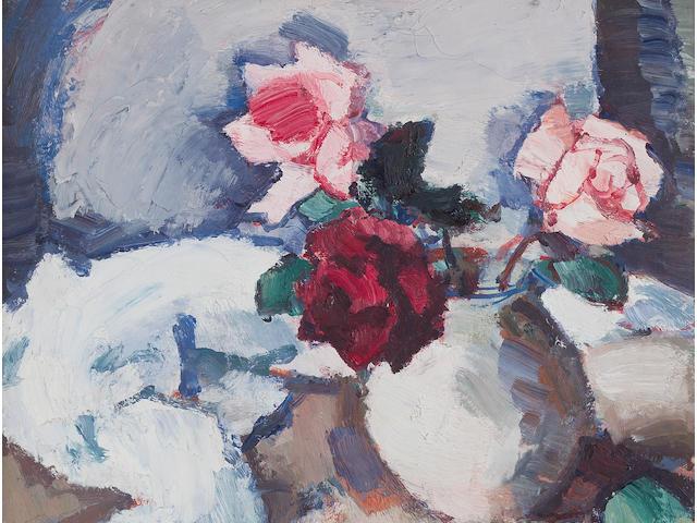 Samuel John Peploe RSA (British, 1871-1935) Dark Roses in Pot 44.5 x 39.5 cm. (17 1/2 x 15 9/16 in.)
