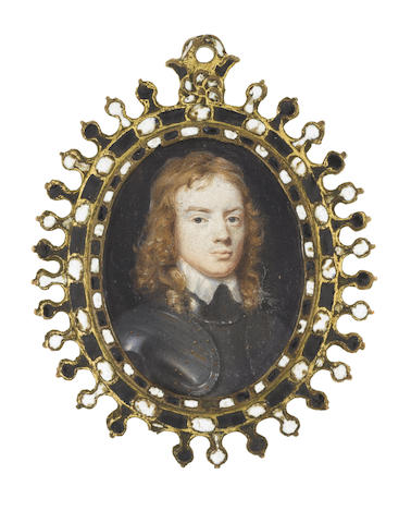 Samuel Cooper (British, 1609-1672) A Young Officer, wearing full armour and white lawn collar, his natural hair falling in waves to his shoulders