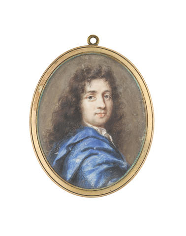 French School, circa 1690 A Gentleman, wearing blue cloak and white cravat, his dark hair falling in loose curls over his shoulders