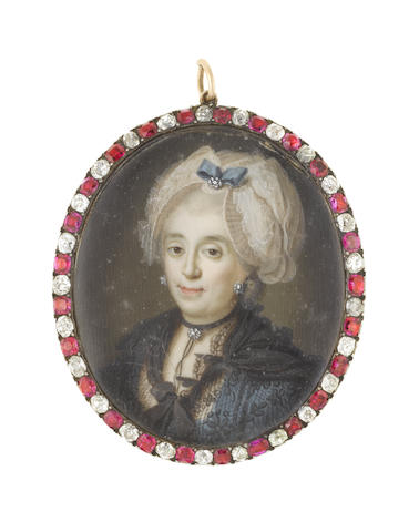 Italian School, circa 1770 A Lady, wearing teal blue dress and black lace shawl, black choker set with a diamond pendant and matching diamond earrings, her wig powdered and upswept beneath a white bonnet finished with gauze, teal ribbon and a further diamond pendant