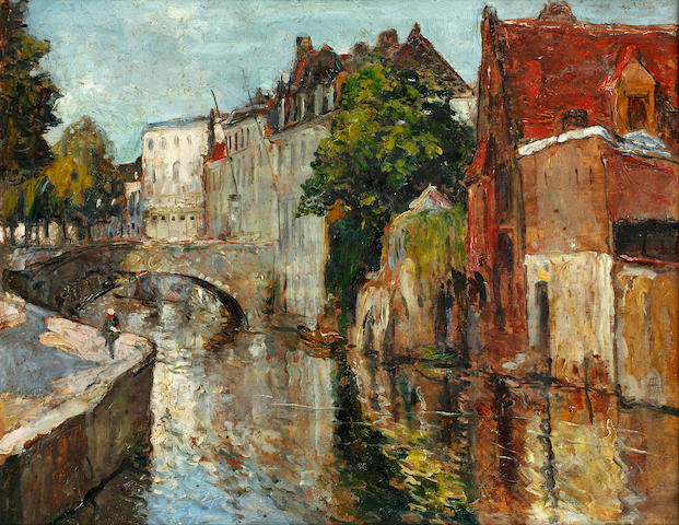 Alexander Jamieson ROI (British, 1873-1937) Quai Main d'Or, Bruges
