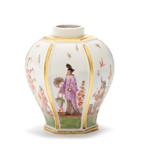 A Meissen hexagonal tea canister, circa 1725-30