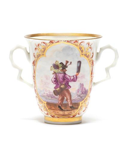 A Meissen two-handled beaker, circa 1722