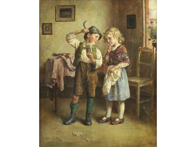 Edmund Adler (Austrian, 1876-1965) Admiring the day's catch