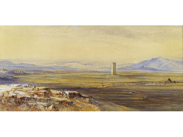 Edward Lear (British, 1812-1888) View of the Roman Campagna and the Alexandrine Aqueduct