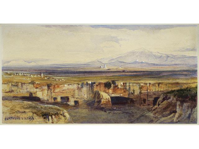 Edward Lear (British, 1812-1888) Cervera, on the Roman Campagna