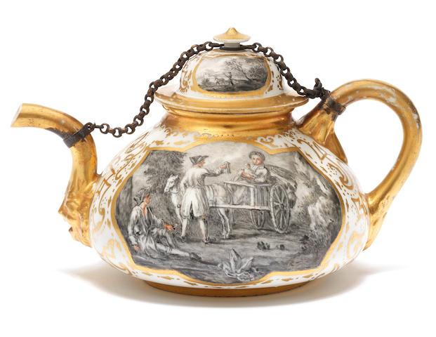 A rare Meissen Hausmaler teapot and cover, circa 1720-30