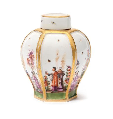 A Meissen hexagonal tea canister, circa 1725