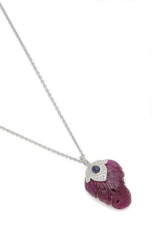 A ruby, sapphire and diamond-set pendant necklace