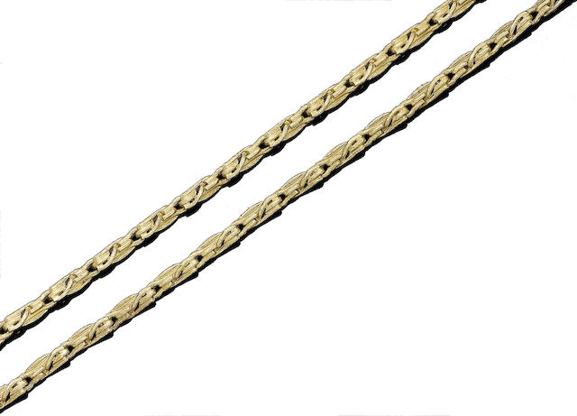 A gold fancy-link necklace,