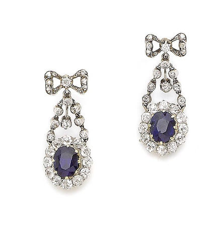 A pair of late 19th century sapphire and diamond pendent earrings