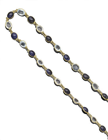 A sapphire and aquamarine necklace