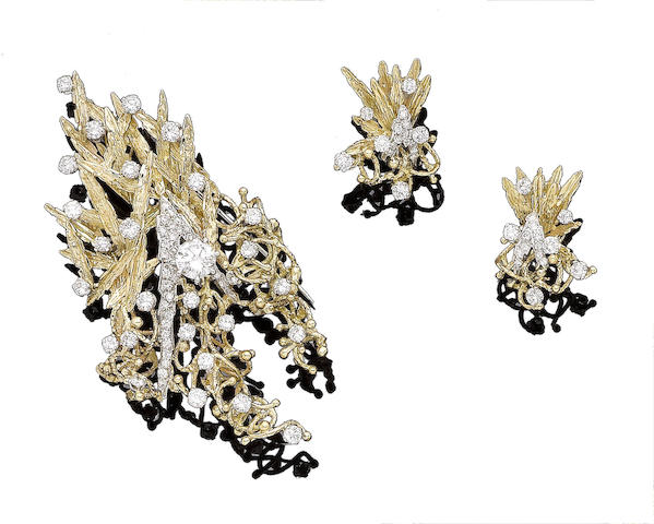 A diamond-set spray brooch and a pair of diamond-set earrings (2)